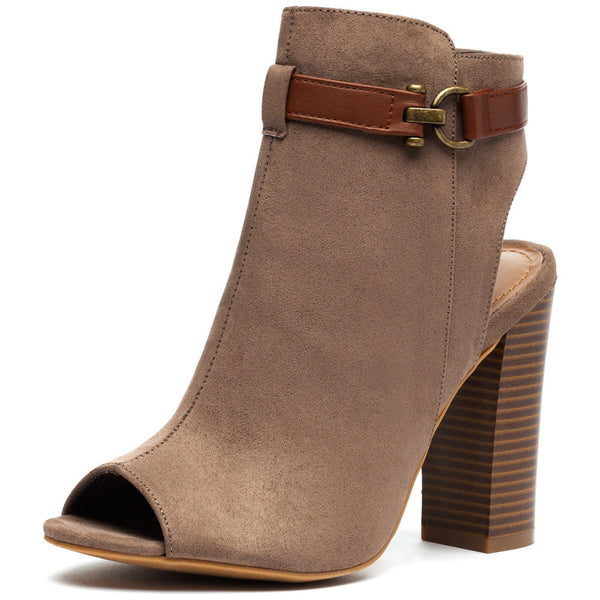 Taupe Faux Suede Peep-Toe Bootie - Citi Trends Shoes - Front
