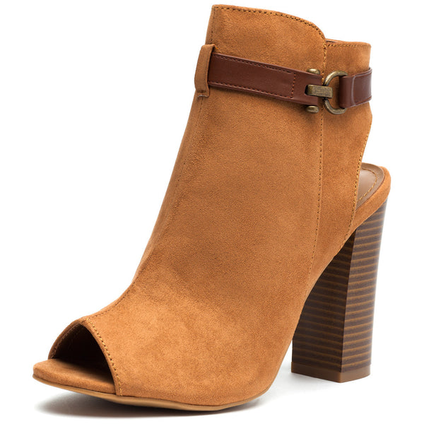 Natural Faux Suede Peep-Toe Bootie - Citi Trends Shoes - Front