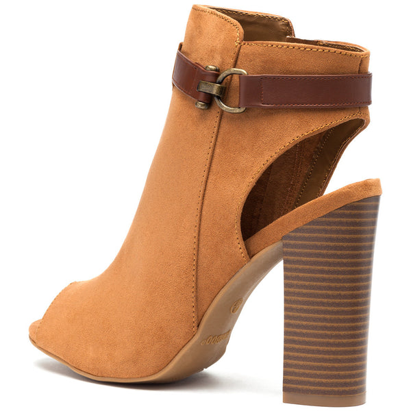 Natural Faux Suede Peep-Toe Bootie - Citi Trends Shoes - Back