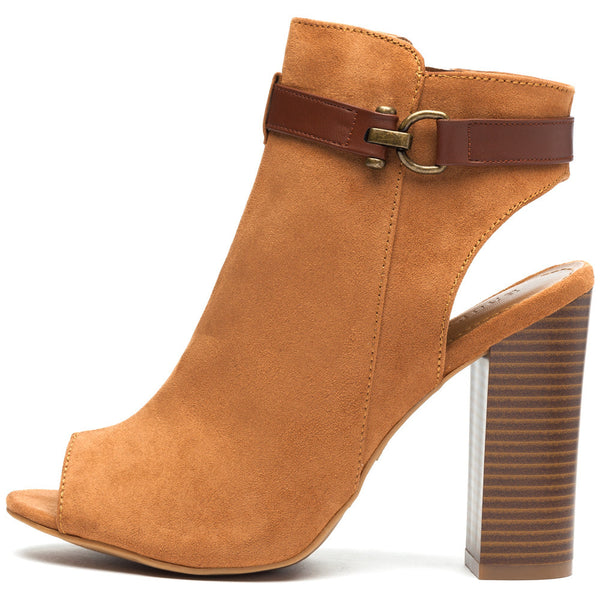 Natural Faux Suede Peep-Toe Bootie - Citi Trends Shoes - Side