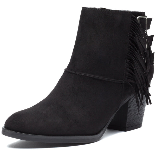 Fringe-Fantastic Faux Suede Stacked-Heel Bootie - Citi Trends Shoes - Front