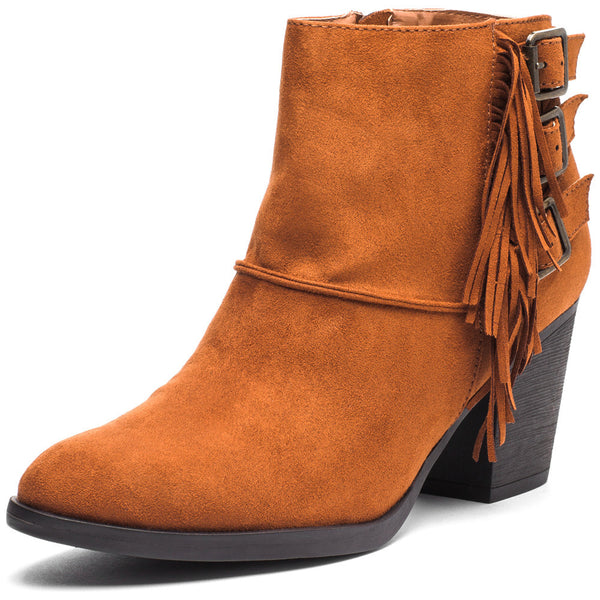 Fringe-Fantastic Chestnut Faux Suede Stacked-Heel Bootie - Citi Trends Shoes - Front