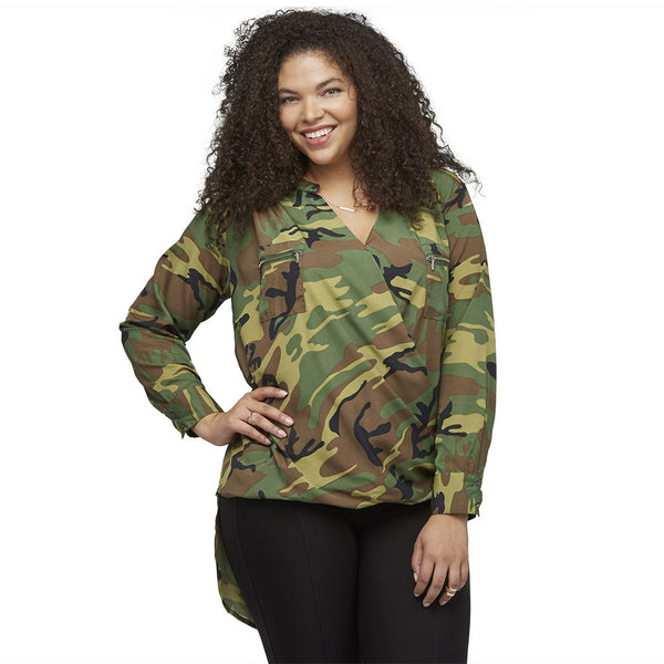 Style Captain Camo High-Low Wrap Top - Citi Trends Plus and Ladies - Front