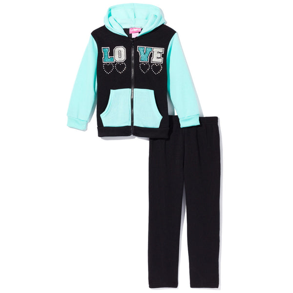 Love To Lounge Girls 2-Piece Mint/Black Fleece Sweatsuit Set - Citi Trends Girls - Front