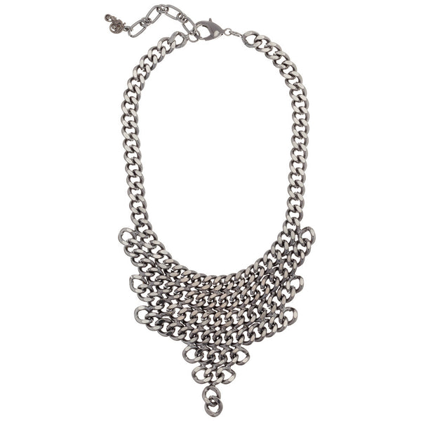 Gunmetal Silver Chain-Link Bib Necklace - Citi Trends - Accessories