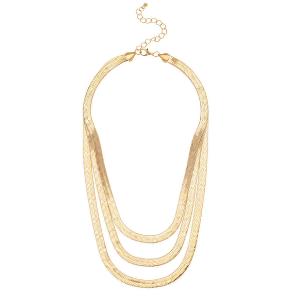 Gold Herringbone 3-Tier Chain Necklace - Citi Trends - Accessories