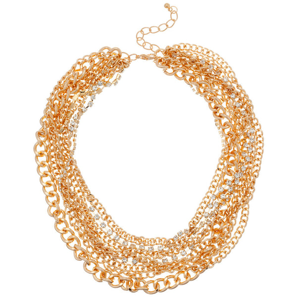 Gold And Crystal Multi Strand Chain Bib Necklace - Citi Trends - Accessories