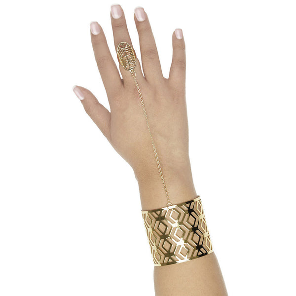 Put A Ring On It Aztec Cutout Cuff With Attached Ring - Citi Trends Accessories - Front