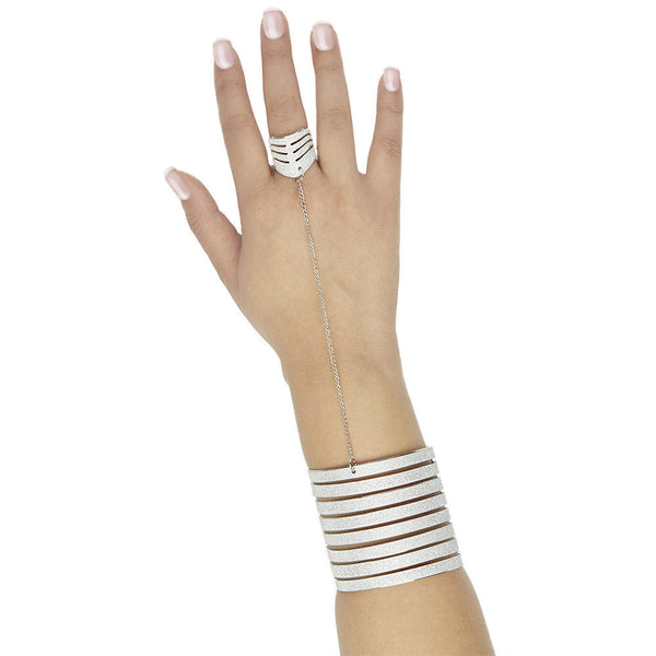Set The Bar High Silver Glitter Tiered Cuff With Attached Ring - Citi Trends Accessories - Front