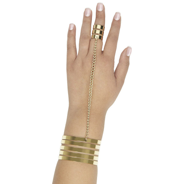 Set The Bar High Gold Tiered Cuff With Attached Ring - Citi Trends Accessories - Front