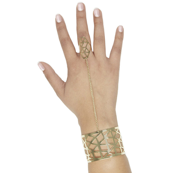 Abstract Amazing Geometric Cuff With Attached Ring - Citi Trends Accessories - Front