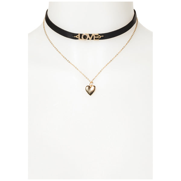 Love To Love You Black/Gold Heart Choker - Citi Trends Accessories - FRONT