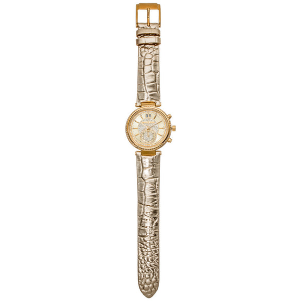 Michael Kors Women's Gold-Tone Chronograph Watch with Crystal Dial and Embossed-Leather Strap - Citi Trends Accessories - Front Full Length