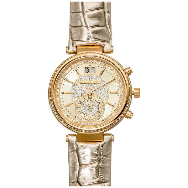 Michael Kors Women's Gold-Tone Chronograph Watch with Crystal Dial and Embossed-Leather Strap - Citi Trends Accessories - Front Closeup