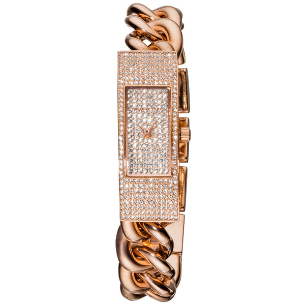 Michael Kors Women's Hayden Pavé Rose Gold-Tone Chain-Link Watch - Citi Trends Accessories - Front Closeup