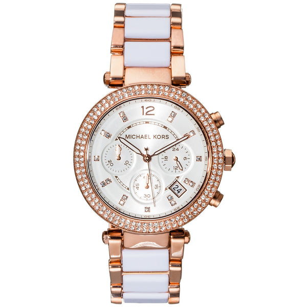 Michael Kors Women's White Acetate Rose Gold-Tone Chronograph Watch With Crystal Pavé Markers and Bezel - Citi Trends Accessories - Front
