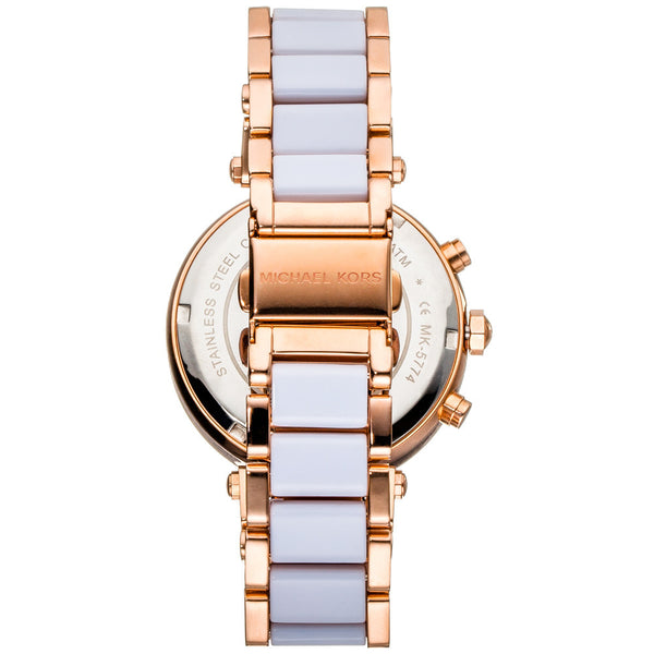 Michael Kors Women's White Acetate Rose Gold-Tone Chronograph Watch With Crystal Pavé Markers and Bezel - Citi Trends Accessories - Back