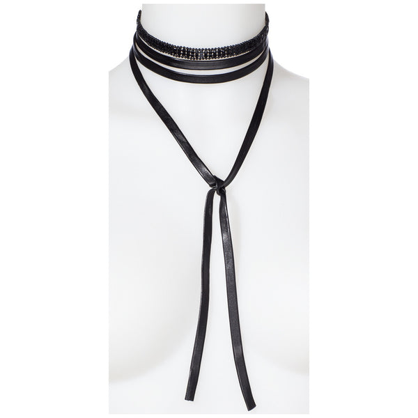 Wrap Star Black 2-Piece Wraparound Choker Set - Citi Trends Accessories - Front