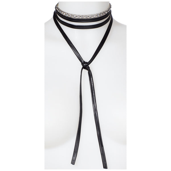 Wrap Star Silver/Black 2-Piece Wraparound Choker Set - Citi Trends Accessories - Front