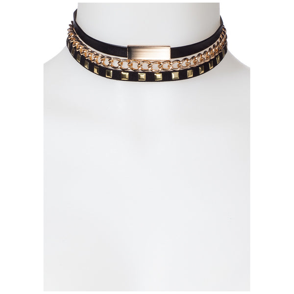 Stack Up Gold/Black 3-Piece Choker Set - Citi Trends Accessories - Front