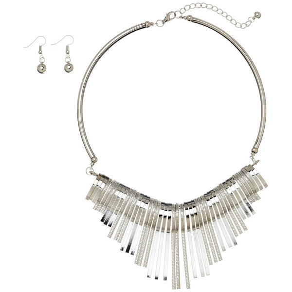 Studio 54 Silver Metal Tassel Choker And Earring Set - Citi Trends Accessories - Front