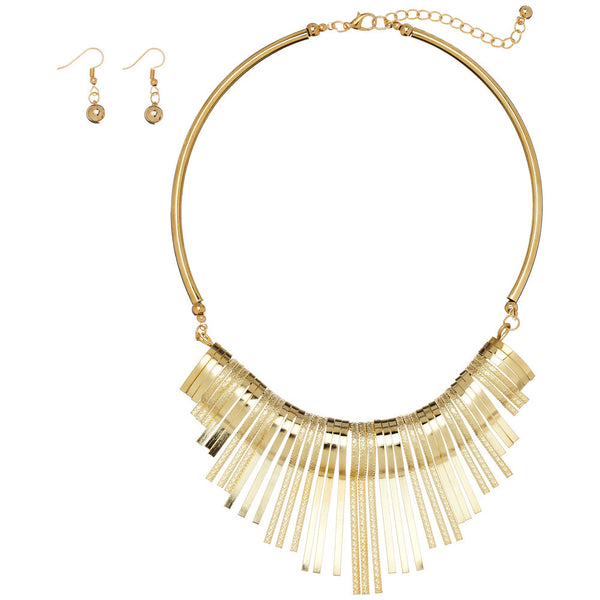 Studio 54 Gold Metal Tassel Choker And Earring Set - Citi Trends Accessories - Front