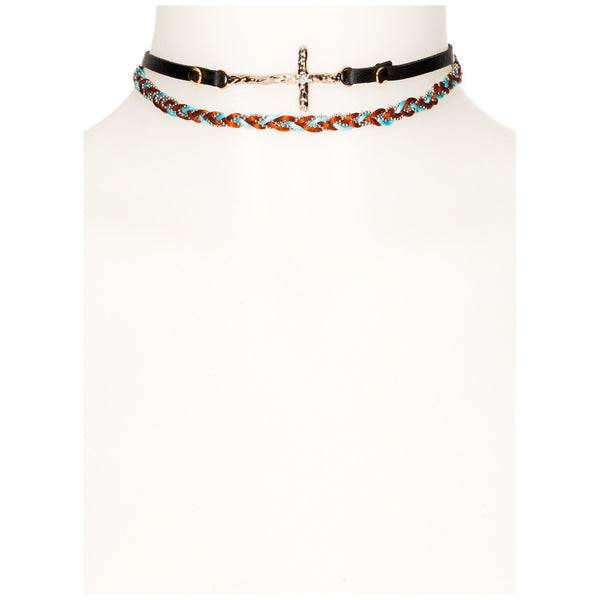 Braided Bliss 2-Piece Cross Choker Set - Citi Trends Accessories - Front