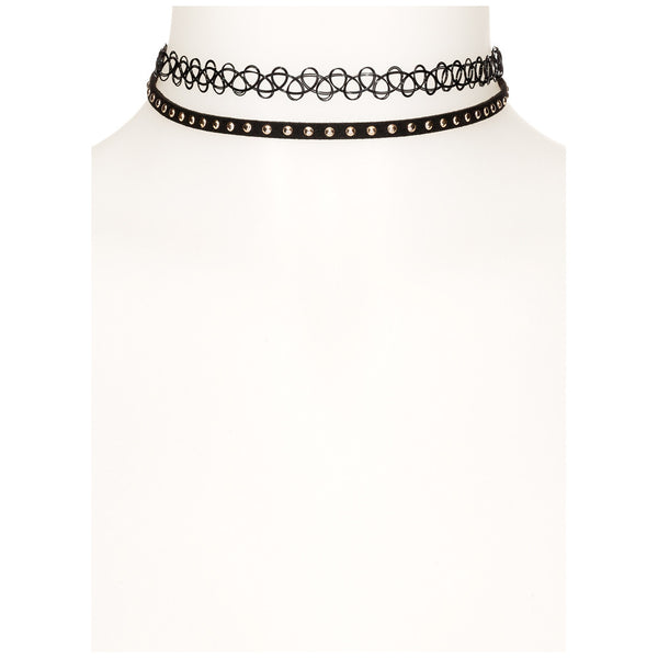 Studded Statement 2-Piece Chocker Set - Citi Trends Accessories - Front