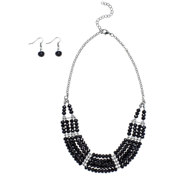 Beaded Beauty Black Necklace And Earring Set - Citi Trends Accessories - Front