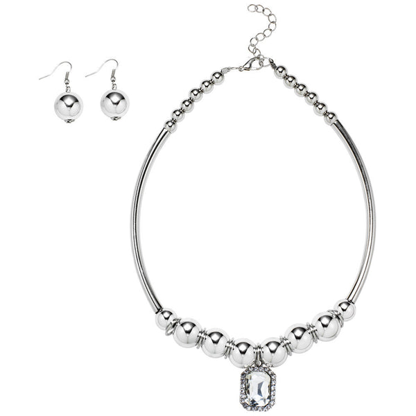 Bling It On Silver Metal Collar Necklace And Earring Set - Citi Trends Accessories - Front
