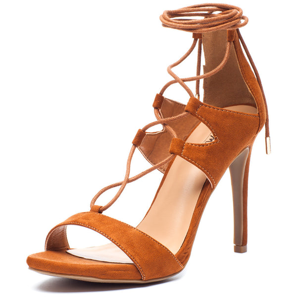 Tan Lace-Up Cutout Open-Toe Heel with Ankle Tie - Citi Trends Shoes - Front
