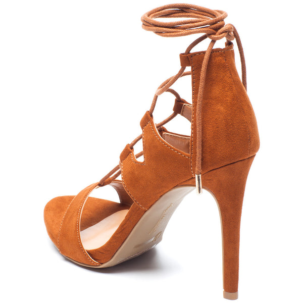 Tan Lace-Up Cutout Open-Toe Heel with Ankle Tie - Citi Trends Shoes - Back