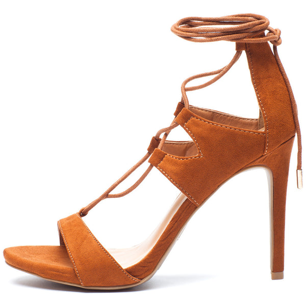 Tan Lace-Up Cutout Open-Toe Heel with Ankle Tie - Citi Trends Shoes - Side