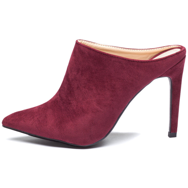 Burgundy Pointy-Toe Mule Stiletto Heel - Citi Trends Shoes - Side