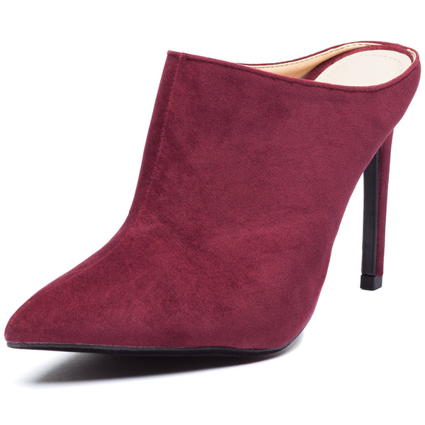 Burgundy Pointy-Toe Mule Stiletto Heel - Citi Trends Shoes - Front