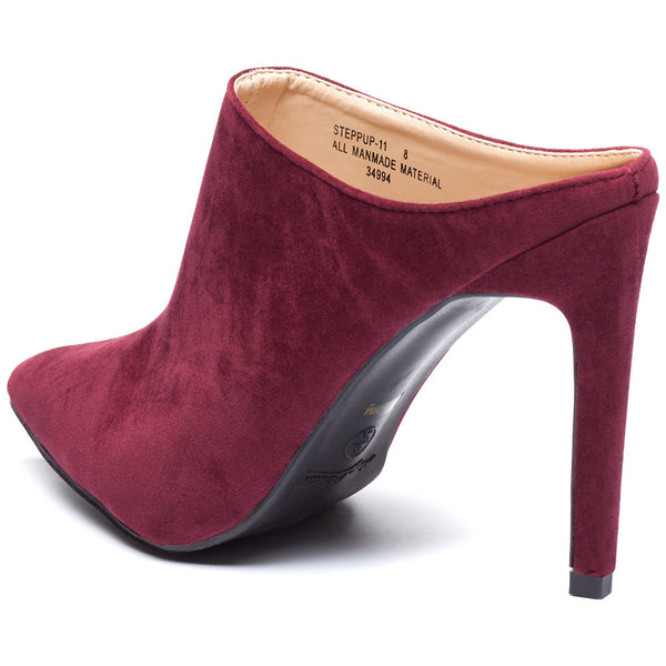 Burgundy Pointy-Toe Mule Stiletto Heel - Citi Trends Shoes - Back