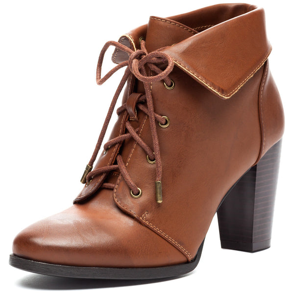 Chestnut Lace-Up Booties With Folded Cuff - Citi Trends Shoes - Front