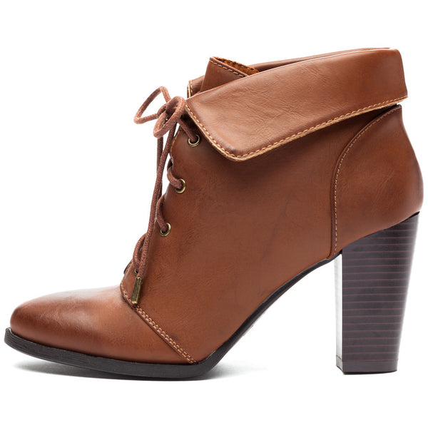 Chestnut Lace-Up Booties With Folded Cuff - Citi Trends Shoes - Side