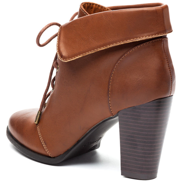 Chestnut Lace-Up Booties With Folded Cuff - Citi Trends Shoes - Back