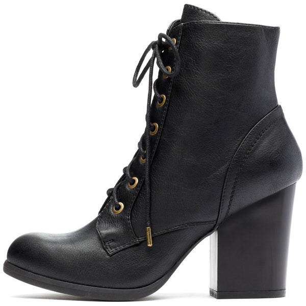 Cool-Girl Black Stacked-Heel Combat Boot - Citi Trends Shoes - Side