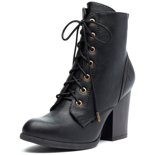Cool-Girl Black Stacked-Heel Combat Boot - Citi Trends Shoes - Front