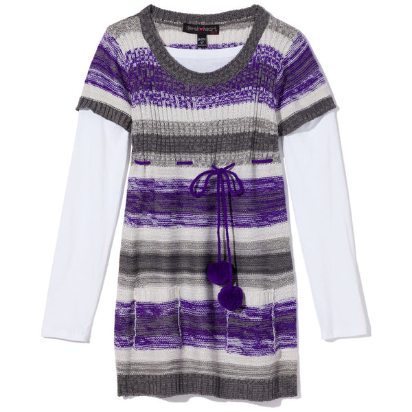 Fur Sure Girls Purple Striped Pom Pom Sweater Dress - Citi Trends Girls - Front