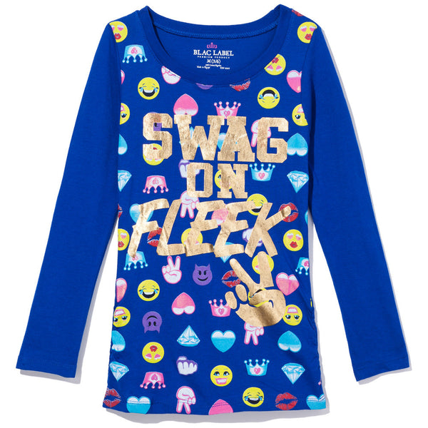 Swag On Fleek Girls Long-Sleeve Emoji Graphic Tee - Citi Trends Girls - Front