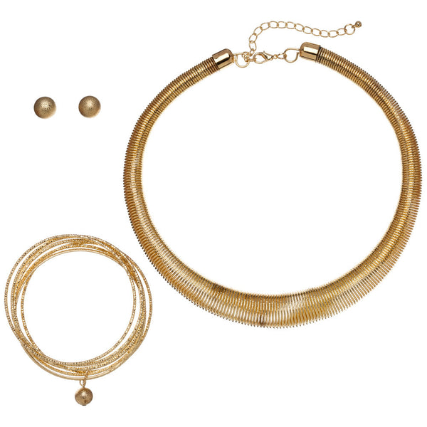 Spiral Spirit Gold Coil Necklace/Bracelet/Earring Set - Citi Trends Accessories - Front