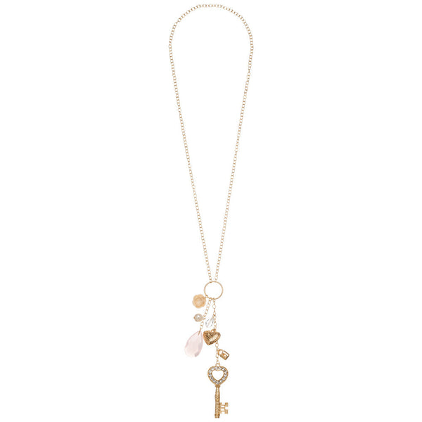 Love-Locked Gold Charm Necklace - Citi Trends Accessories - Front