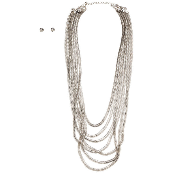 Polished Plunge Silver Layered Necklace And Earring Set - Citi Trends Accessories - Front
