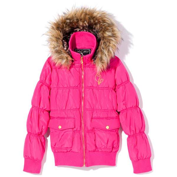 Warm Welcome Girls Baby Phat Pink Bomber Puffer Jacket - Citi Trends Girls - Front