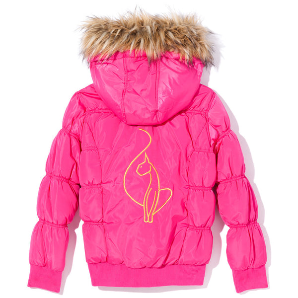 Warm Welcome Girls Baby Phat Pink Bomber Puffer Jacket - Citi Trends Girls - Back
