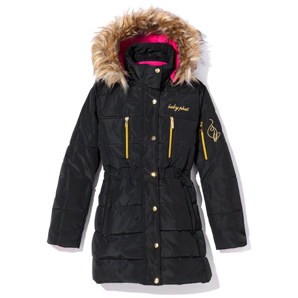 Snowbound Girls Baby Phat Black Hooded Puffer Coat
