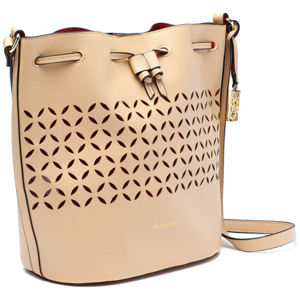 CXL by Christian Lacroix Nude Perforated Drawstring Bucket Bag - Citi Trends Designer - Side